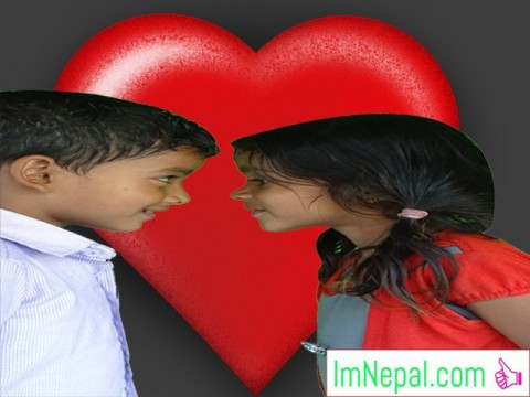 Valentine Wishes messages boyfriend heart shaped love two kids are enjoying