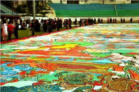 Worlds Largest Thangka was Displayed in Kathmandu Nepal