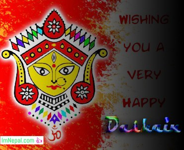 Happy Dashain Vijaya dashami Greeting Wishing Ecards Wallpapers with Face of Durga Mata
