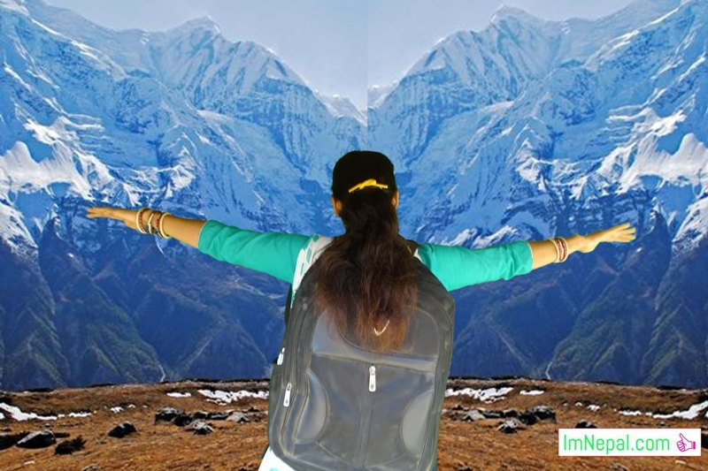 A Lady Traveller is travelling Nepal himalayas