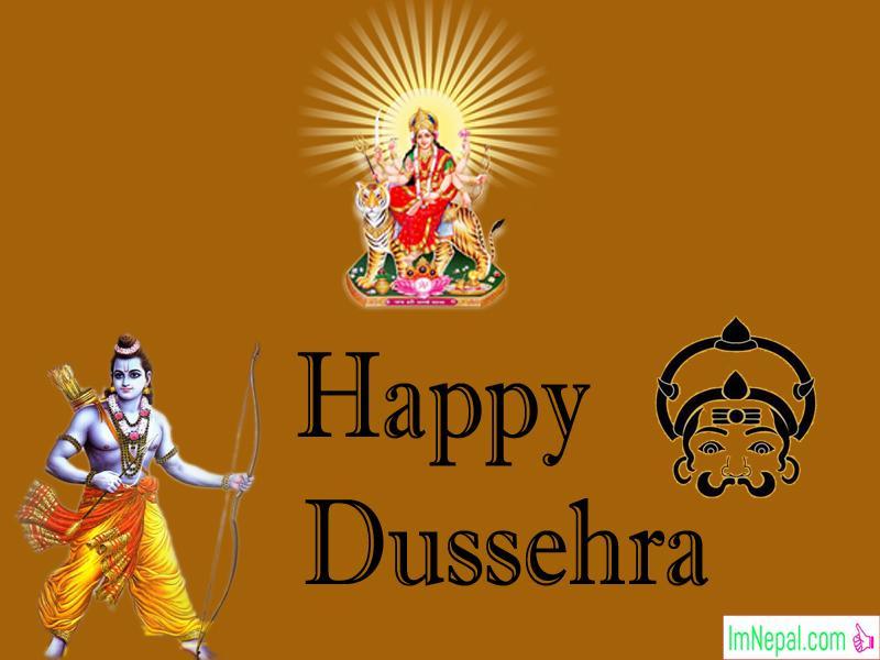 Happy Dussehra Dasara Dashara Greeting Cards Wishes Quotes Images Navratri English Hindi Durga Mata God Rama Wishing Message
