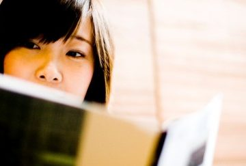 student girl reading books