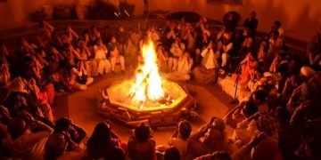 burning fire in Shivratri festival