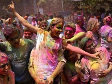 Girls holi festival celebration in Hinduism