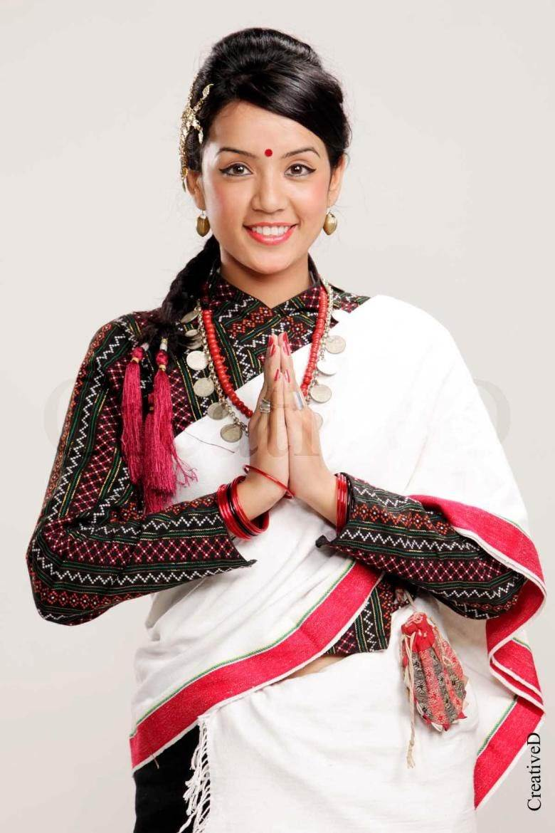 Nepalese model with newari traditional dress