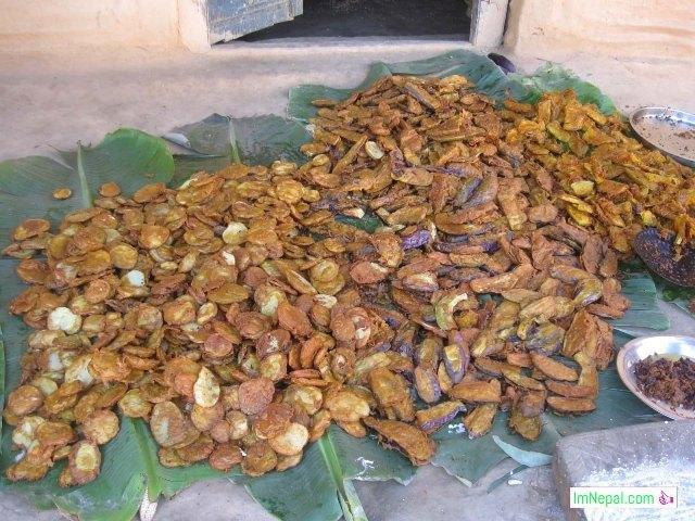 lots of taruwa Pakoda recipe dish Nepali Indian Mithila