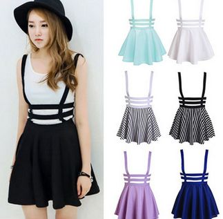 Strap pleated tall waist skirts dress for girls