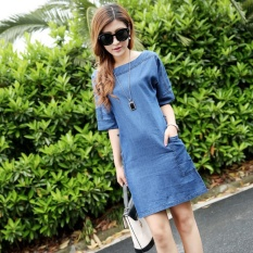 korean style thin section loose denim dress sleeve