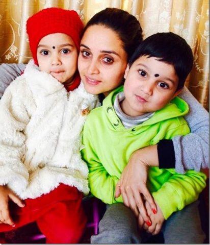 Sanchita Luitel with her son & daughter