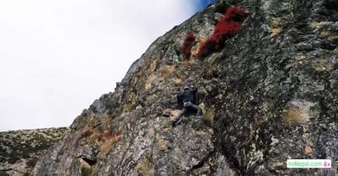 Nepal rock climbing mountain happiness success feeling proud image