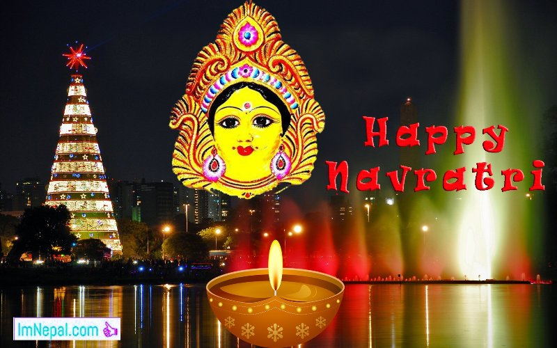 Happy Shubha Navratri Navaratri Festival Hindu HD Wallpaper Greeting Card Quotes Images pictures Wishes messages Dussehra
