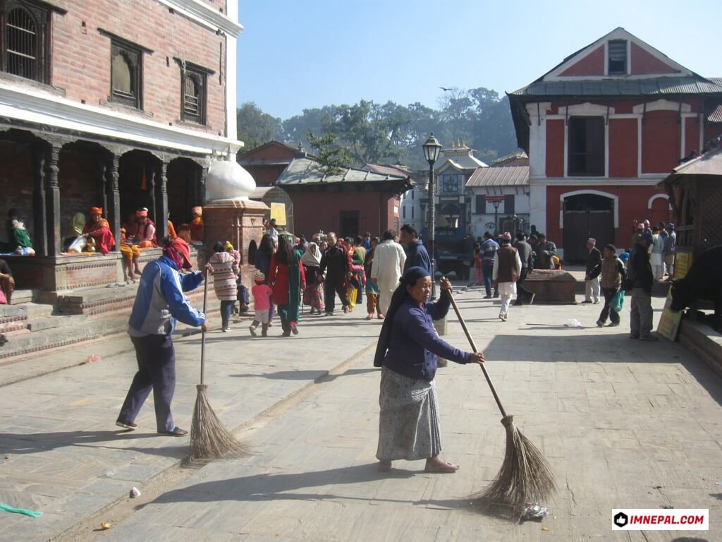 Cleaners on Pashupatinath Temple Mandir Kathmandu Nepal World Heritage Sites Photo