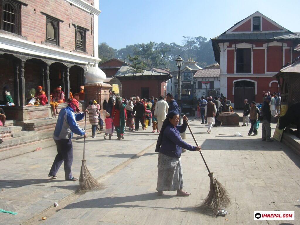 Cleaners on Pashupatinath Temple Mandir Kathmandu Nepal World Heritage Sites Photo