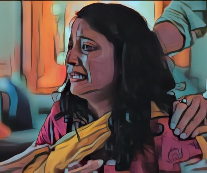 woman is crying
