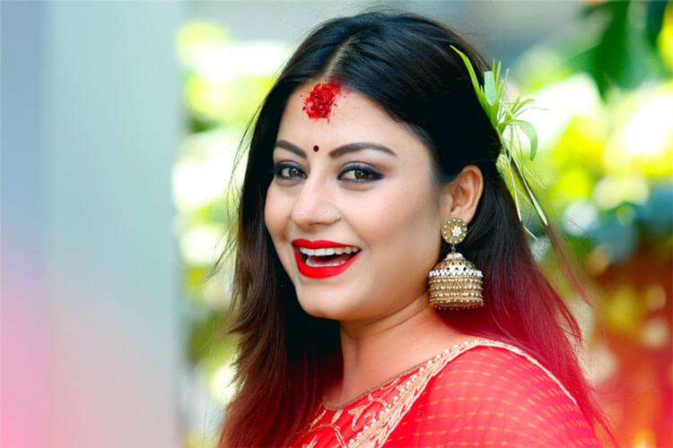 Actress Shweta Khadka Dashain tika photo