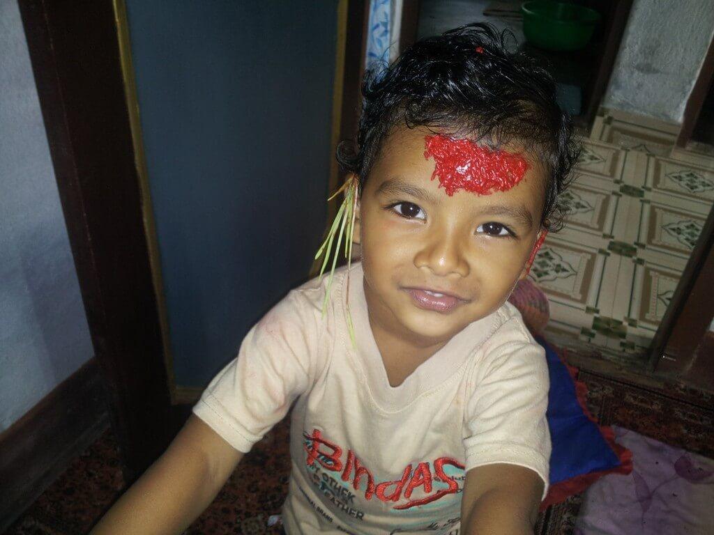 Dashain Rato Tika Forehead Selfie