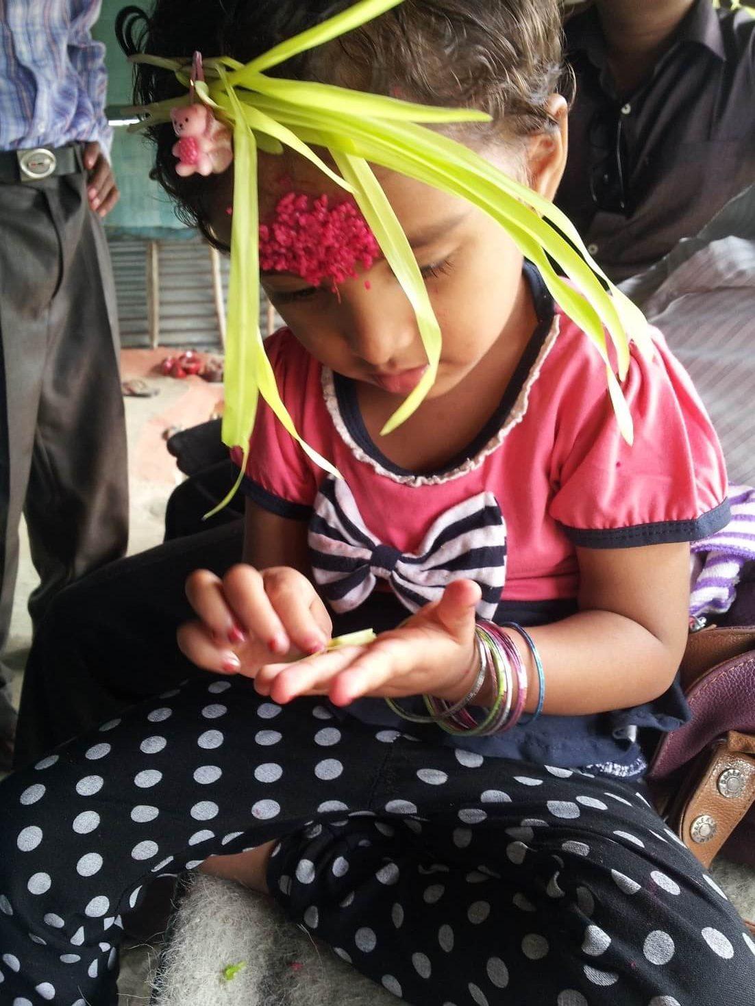 Dashain Rato Tika Forehead baby