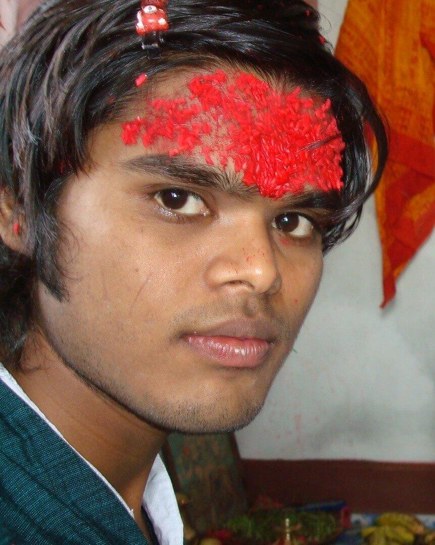 Dashain Rato Tika Forehead boy Image