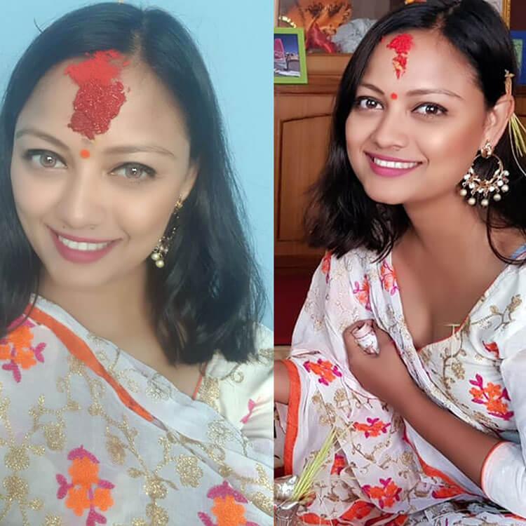 Nepali actress Reecha Sharma dashain tika photo