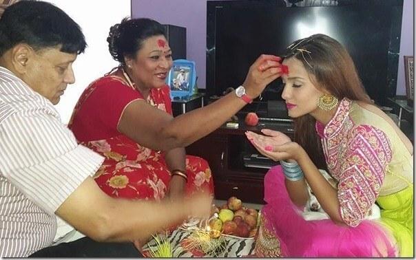 Nepali actress priyanka karki dashain tika