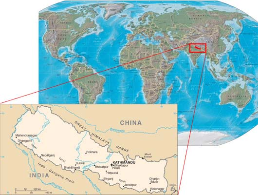 Nepal Time difference from other Country of the World