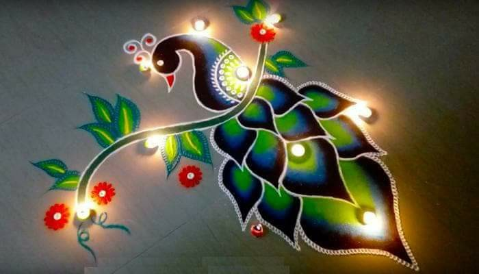 Diwali Deepavali Deepawali Tihar Decoration home Rangoli Designs Image Pictures Photos