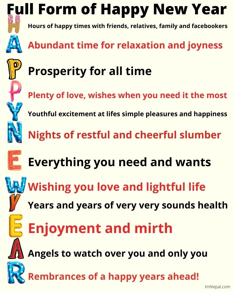 Full Form of Happy New Year in terms of New Year SMS and Wishes