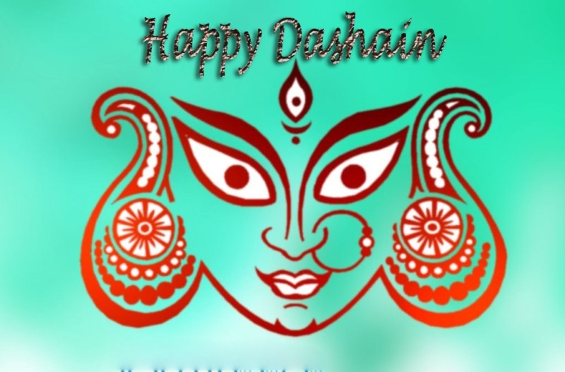 Happy Dashain Greeting Wishing Cards Quotes Pictures durga Mata Face Image