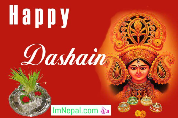 Happy Dashain Vijaya dashami Durga Puja Navratri Festival Nepal Greeting Wishing Cards Image Wallpapers Pictures