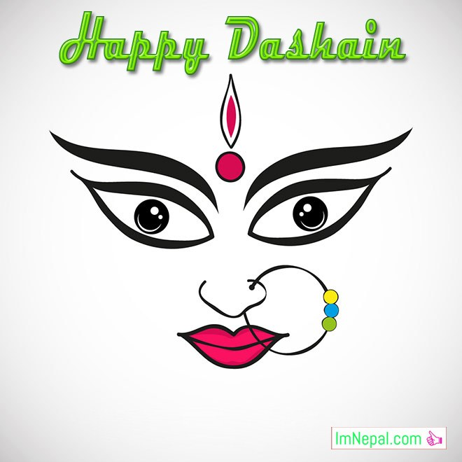 Happy Dashain Vijaya dashami Greeting Wishing Ecards Wallpapers Image Durga Maa FAce