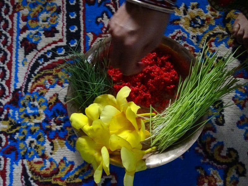 Jamara Rato Tika & Flowers For Dashain