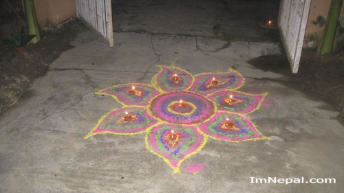Tihar Deepawali ko rangoli photo wallpaper picture Nepal