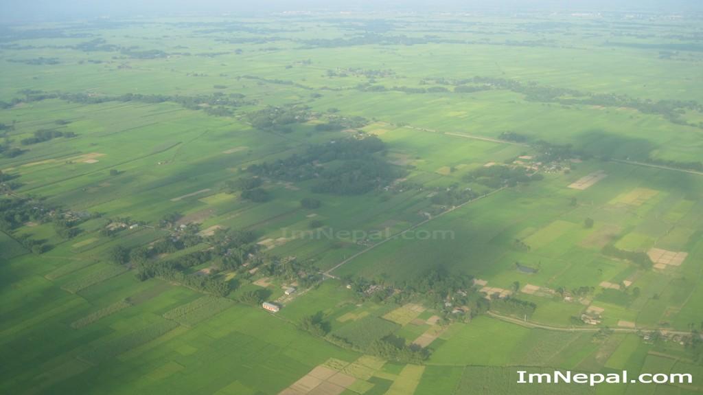 Aerial view of nepal madhesh Terai farming of Nepal top of the plane