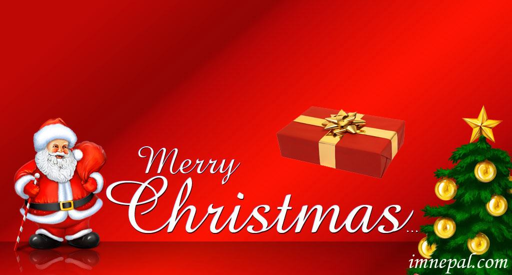 Merry Christmas Wishing Wallpapers Designs with Santa Claus