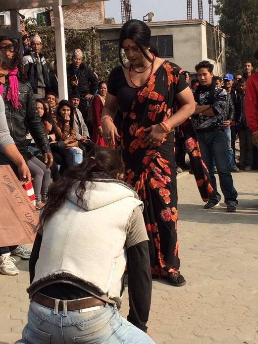 nepali actor superstar Rajesh Hamal photo gallery in saree being a woman lady