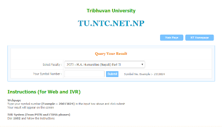 Tribhuwan TU university EXam results with Marksheet