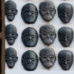Arts masks sculputre Kathmandu Nepal girl shop image