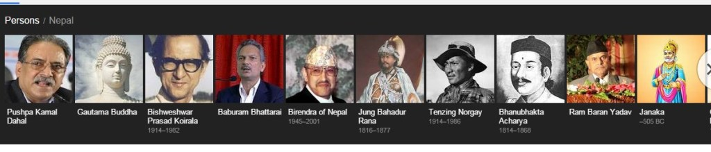 Names of Famous Persons of Nepal (in Google Search Engine)