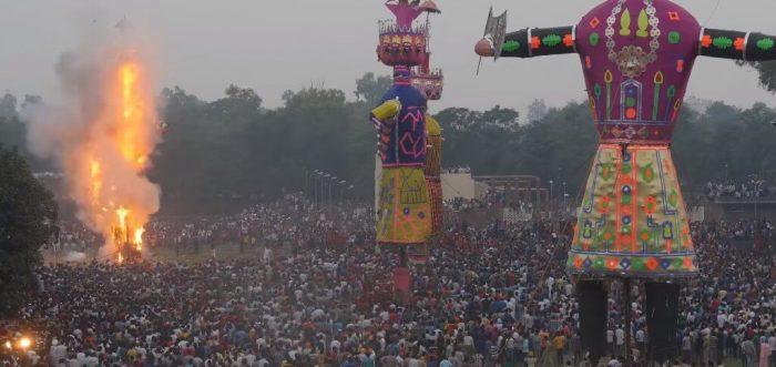 Burning Ravana at Dussehra Festival in Amritsar, India