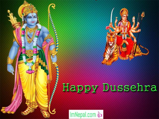 Happy Dussehra Dasara Dashara Greeting Cards Wishe Quotes Images Navratri English Hindi Durga Mata God Ram HD Wallpapers