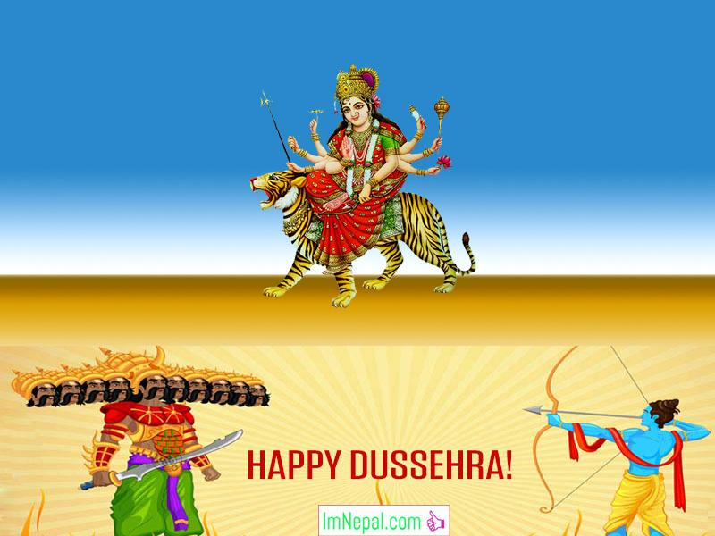 Happy Dussehra Dasara Dashara Greeting Cards Wishes Quotes Image Navratri English Hindi Durga Mata God Ram HD Wallpapers