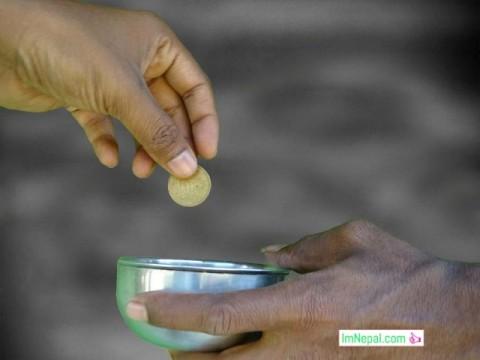begger poverty evil society Nepal begging money giving