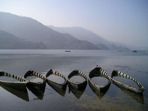 boats in lake of pokhara Nepal
