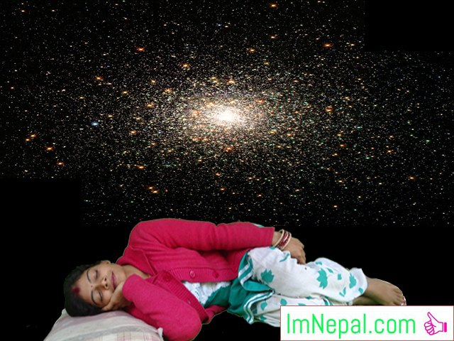 good night sleep - a female is sleeping and dreaming
