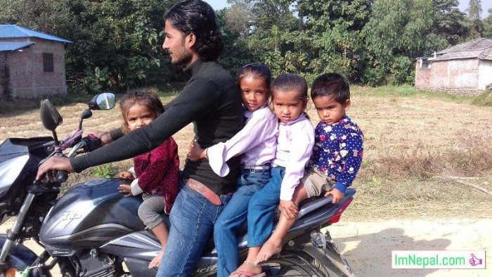 take safe journey bike dad with children no helmet