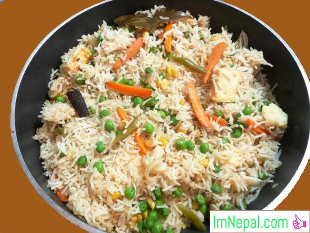 Vegetable pulau rice recipes Nepali foods Indian