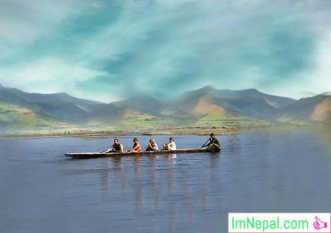Clicking the adventure photo boating in the lake Nepal
