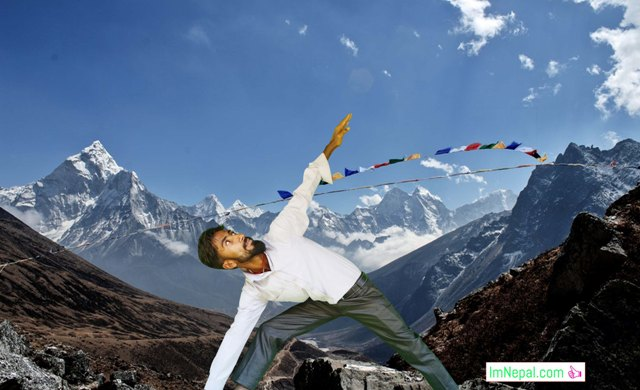 Doing exercise, yoga and meditation in Himalayas Nepal