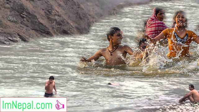 Swimming at Koshi River