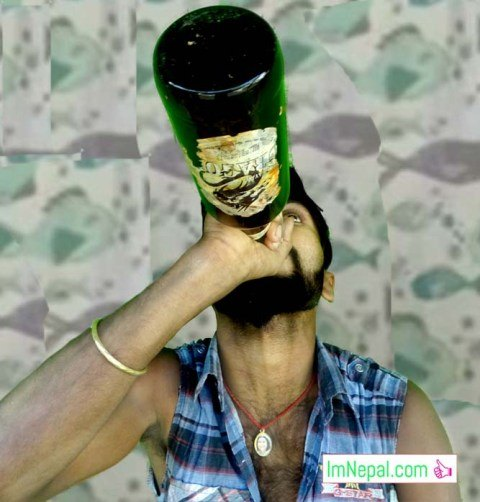 a boy drinking beer wildly